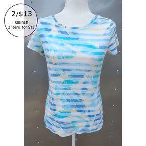 2/$13 Relativity Watercolor T-Shirt Top Multi Sm